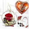 Pack  Con Rosa Eterna, Chocolate Y Globo Te Amo
