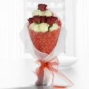 Decorado con una malla simple (2.0), Decorado con una malla nieve (1.0), Envuelto en papel celofán engomado (1.0), Rosa blanca importada de tallo largo (6.0), Decorado con papel arroz (2.0), Adornado con cinta organza (2.0), Rosa roja importada de tallo largo (6.0)