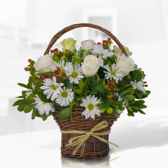 Canasto Mediano De Flores Variadas