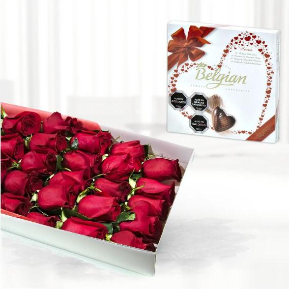 Caja De Rosas 24 Con Chocolate