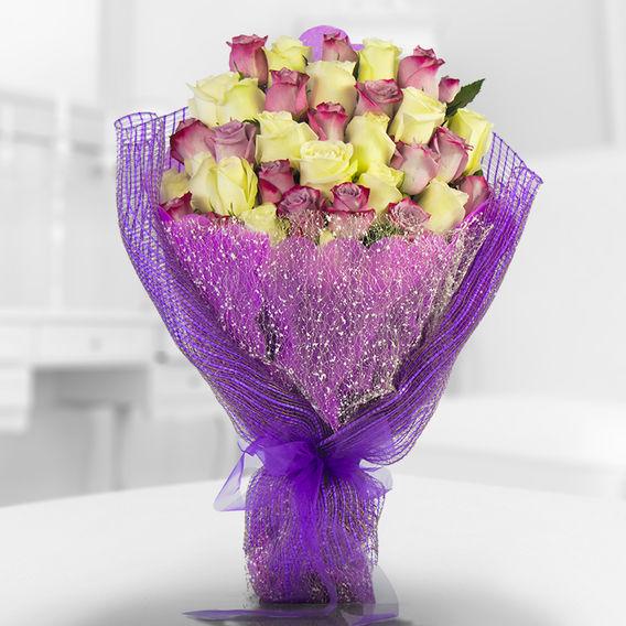 Precioso Ramo Con Mix De 40 Rosas Importadas