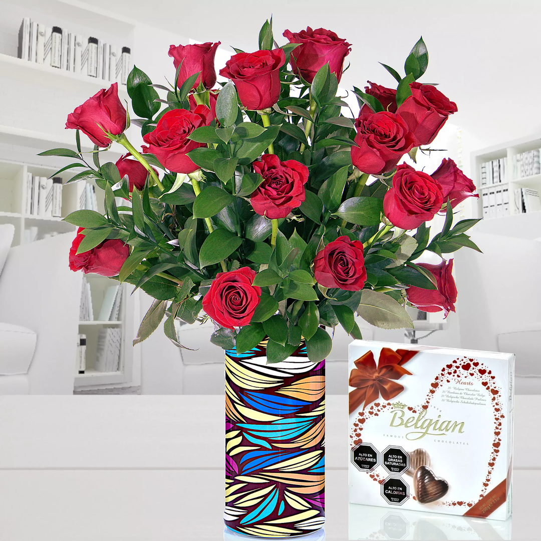 Pack Arreglo Con 18 Rosas Y Chocolate