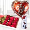 Pack De Bella Caja De Rosas Rojas  Con Finos Chocolates Y Globo Te Amo