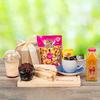 Muffin de chocolate (1.0), Cabritas caramelo sin azúcar, 55 grs (1.0), Sandwich Migas Triangular Doble ave pimenton 145 grs (1.0), Yogurth c/Granola Migas Sabores 300 grs (1.0), AMA Jugo Manzana Mango Organico 300 cc (1.0), Té Negro Lipton Yellow Label (1.0), Café Gold Instantáneo Stick 1.8 grs Primera Selección (1.0), Papel arroz (1.0), Papel arroz (1.0), Adornado con cinta satín (2.0), Papel celofán (2.0)