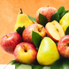 Manzanas  (u) (8.0), Peras (u) (8.0), Papel celofán (2.0), Adornado con cinta satín (2.0), Ruscus (1.0), Papel arroz (2.0)
