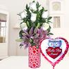 Liliums Rosados (3.0), Rosa blanca importada de tallo largo (6.0), Decorado con papel arroz (1.0), Adornado con cinta satín (3.0), Espuma floral (1.0), Espuma floral (1.0), Rosa blanca importada de tallo largo (6.0), Ruscus (5.0), Ruscus (5.0), Decorado con papel arroz (1.0), Adornado con cinta satín (3.0), Liliums Rosados (3.0)