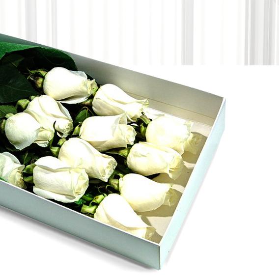 Caja Con 12 Rosas Blancas