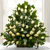 Arreglo Floral Grande Tipo Arrimo Con 48 Rosas Blancas